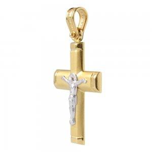 Σταυρός με Εσταυρωμένο, από χρυσό και λευκό χρυσό 14Κ με ματ υφή και ανάγλυφο Εσταυρωμένο. Συνδυάστε τον με τις προτεινόμενες αλυσίδες.