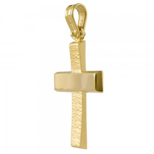 Σταυρός βάπτισης για αγόρι από χρυσό 14Κ, σε απλό σχέδιο με λουστρέ και ματ ανάγλυφο φινίρισμα. Συνδυάστε τον με τις προτεινόμενες αλυσίδες.