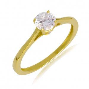 Μονόπετρο δαχτυλίδι από χρυσό 14Κ με πέτρα ζιργκόν. Η πέτρα στηρίζεται σε βάση με τέσσερα στηρίγματα που την αναδεικνύει υπέροχα! Στο μπροστινό και πίσω πλευρικό σημείο της βάσης υπάρχει διακριτικό λευκό ζιργκόν.