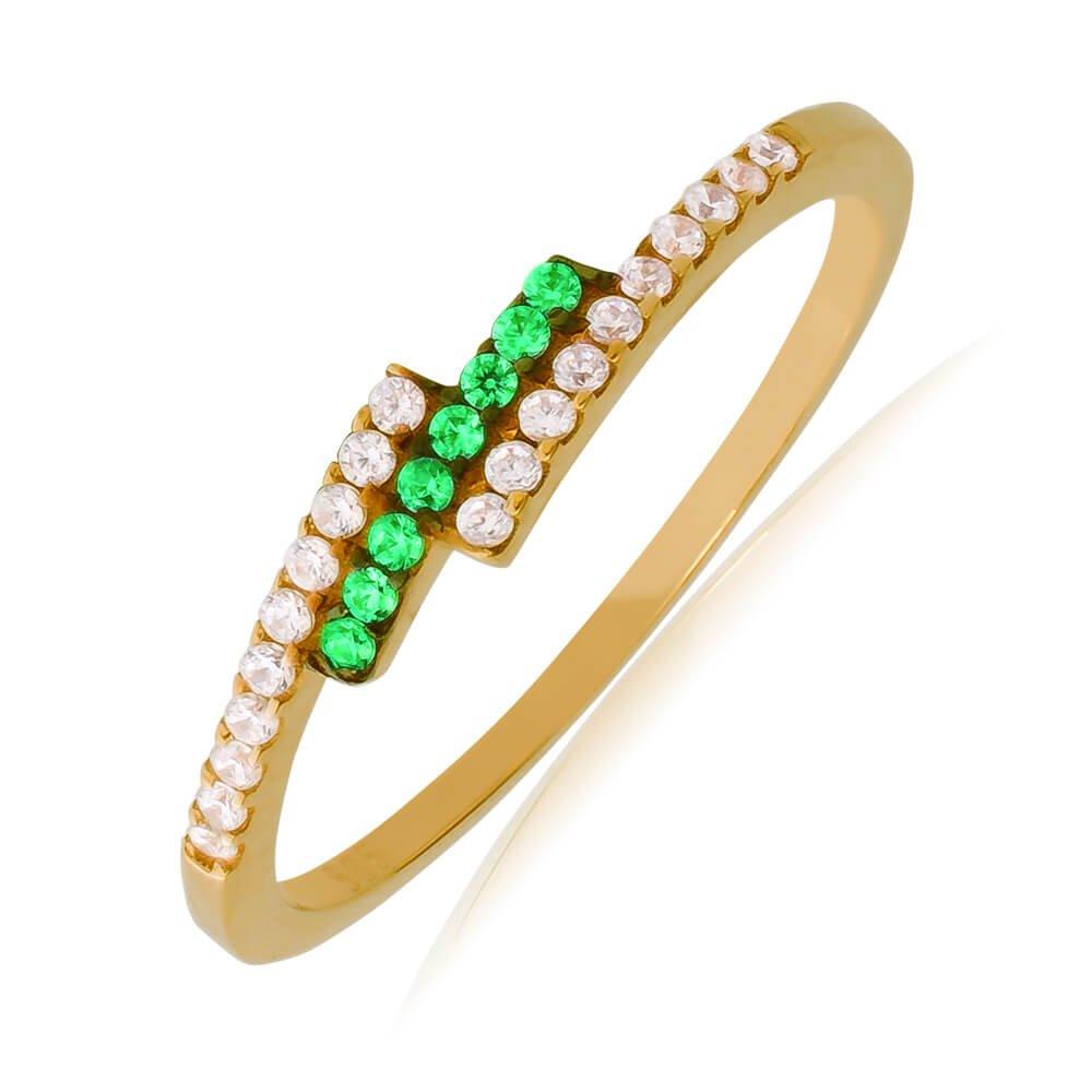 Βεράκι δαχτυλίδι από χρυσό 14Κ, σε ιδιαίτερο σχέδιο με τριπλή σειρά, διακοσμημένο με λευκά και πράσινα ζιργκόν.
