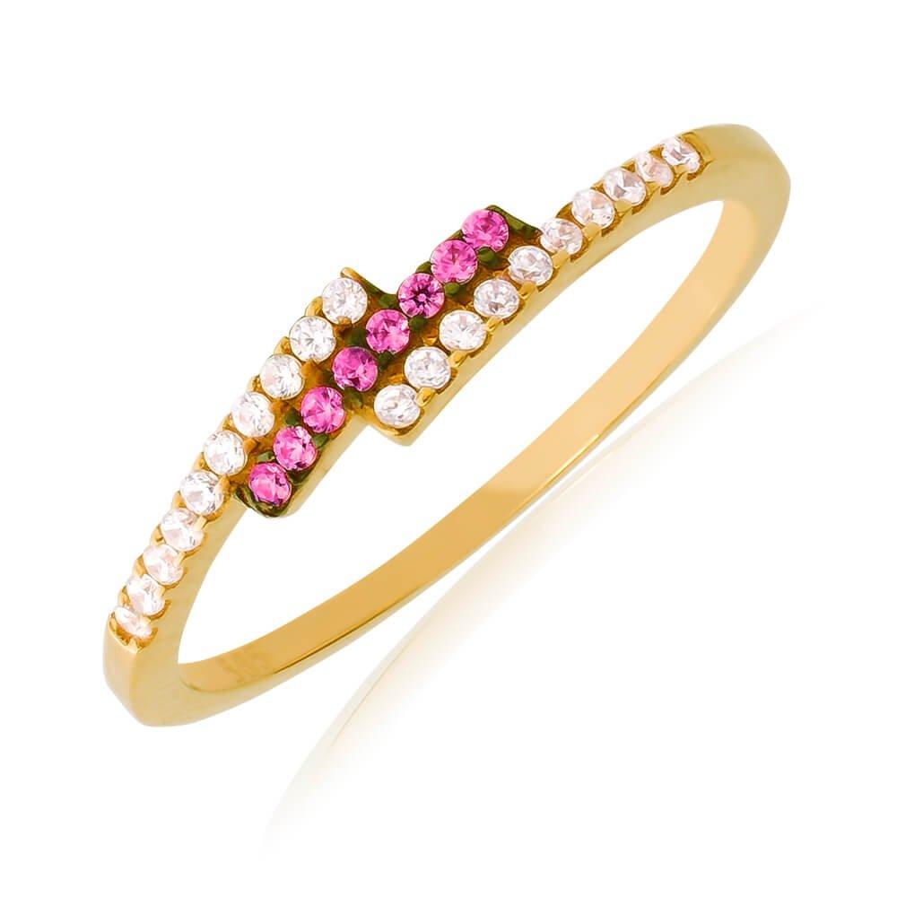 Βεράκι χρυσό δαχτυλίδι 14Κ, σε ιδιαίτερο σχέδιο με τριπλή σειρά, διακοσμημένο με λευκά και φούξια ζιργκόν.