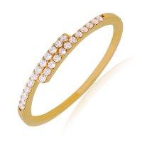 Δαχτυλίδι μισόβερο χρυσό 14Κ, σε ιδιαίτερο σχέδιο με λεπτή γραμμή, διακοσμημένο με λευκά ζιργκόν.
