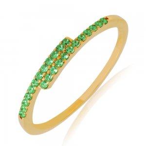 Βεράκι γυναικείο από χρυσό 14Κ, σε ιδιαίτερο σχέδιο με λεπτή γραμμή, διακοσμημένο με πράσινα ζιργκόν.