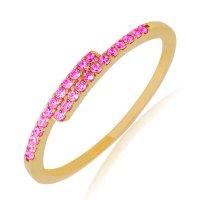 Δαχτυλίδι βεράκι από χρυσό 14Κ, σε ιδιαίτερο σχέδιο με λεπτή γραμμή, διακοσμημένο με φούξια ζιργκόν.