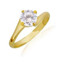 Χρυσό μονόπετρο δαχτυλίδι 14Κ σε σχέδιο φλόγα διακοσμημένο με μια εντυπωσιακή πέτρα ζιργκόν. Είναι δεμένο σε βάση περιστρεφόμενη με 4 στηρίγματα που αγκαλιάζουν και αναδεικνύουν υπέροχα την πέτρα.