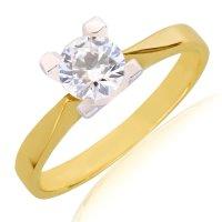 Μονόπετρο δίχρωμο από χρυσό και λευκό χρυσό 14Κ, διακοσμημένο με μία λευκή πέτρα ζιργκόν σε εντυπωσιακό μέγεθος! Η γάμπα του δαχτυλιδιού είναι χρυσή και λεπτάινει όσο πλησιάζει τη βάση της πέτρας. Η βάση είναι από λευκόχρυσο και έχει τέσσερα στηρίγματα που αναδεικνύουν την πέτρα υπέροχα!