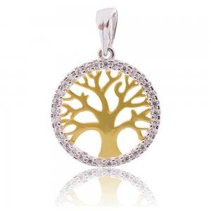 Δέντρο της ζωής κρεμαστό για τον λαιμό δίχρωμο 14Κ. Έχει στο κέντρο το δέντρο της ζωής και περιμετρικά στρογγυλό πλάισιο, διακοσμημένο με λευκά ζιργκόν. Συνδυάστε το με την προτεινόμενη αλυσίδα.