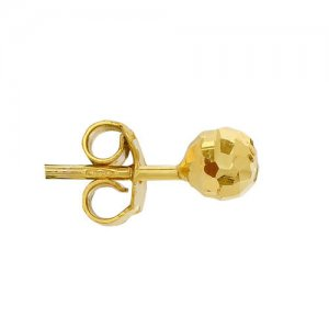 Σκουλαρίκια σφαίρα από χρυσό 14Κ σε σφυρήλατη επεξεργασία, με διάμετρο 4.3 mm.