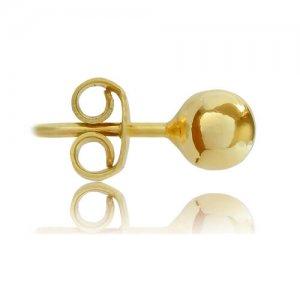 Σκουλαρίκια σφαιρικά χρυσά 14Κ, σε λείο λουστρέ φινίρισμα. Έχουν διάμετρο 5 mm.
