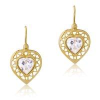Σκουλαρίκια κρεμαστά καρδιά από χρυσό 14Κ. Έχουν διάτρητο περίγραμμα σε λουστρέ φινίρισμα και μία λευκή πέτρα ζιρκόν στο κέντρο, σε σχήμα καρδιάς.