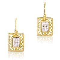 Σκουλαρίκια κρεμαστά χρυσά 14Κ σε σχέδιο ορθογωνίου. Έχουν διάτρητο περίγραμμα σε λουστρέ φινίρισμα και μία λευκή πέτρα ζιρκόν στο κέντρο, σε σχήμα ορθογώνιο.