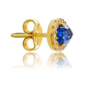 Ροζέτες σκουλαρίκια από χρυσό 14Κ, σε σχήμα δάκρυ. Είναι διακοσμημένες με μία μπλε πέτρα ζιρκόν στο κέντρο και λευκές περιμετρικά.
