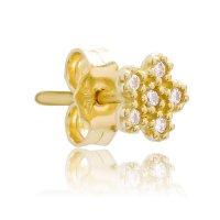 Χρυσά σκουλαρίκια μαργαρίτα 14Κ, διακοσμημένα με λευκές πέτρες ζιρκόν. Έχουν διάμετρο 6 mm.