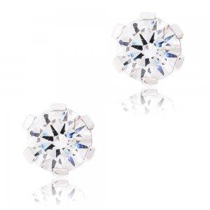Σκουλαρίκια καρφωτά από ασήμι 925 επιπλατινωμένα. Είναι μονόπετρα, διακοσμημένα με λευκές πέτρες ζιργκόν και έχουν διάμετρο 5 mm.