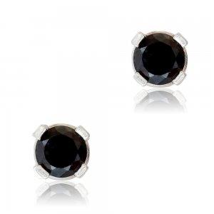 Σκουλαρίκια από ασήμι 925 επιπλατινωμένα μονόπετρα με διάμετρο 3 mm. Είναι διακοσμημένα με μαύρες πέτρες ζιργκόν σε διακριτικό σχέδιο.