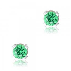 Σκουλαρίκια ασημένια 925, με επιπλατίνωμα. Τα σκουλαρίκια είναι μονόπετρα, διακοσμημένα με πράσινες πέτρες ζιργκόν και έχουν διάμετρο 3mm.