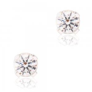 Μονόπετρα σκουλαρίκια ασημένια 925 με επιπλατίνωμα. Είναι διακοσμημένα με λευκές πέτρες ζιργκόν και έχουν διάμετρο 4 mm.