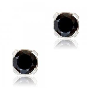 Σκουλαρίκια με μαύρη πέτρα ασημένια 925 επιπλατινωμένα. Είναι μονόπετρα, διακοσμημένα με πέτρες ζιργκόν και έχουν διάμετρο 4 mm.