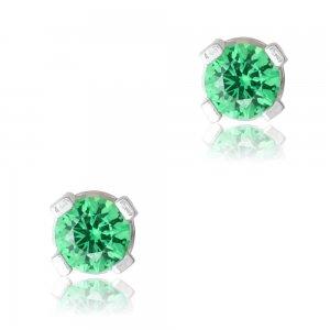 Σκουλαρίκια καρφωτά ασημένια 925 με επιπλατίνωμα. Είναι διακοσμημένα με πράσινες πέτρες ζιργκόν και έχουν διάμετρο 4mm.