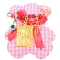Παραμάνα για κοριτσάκι ασημένια 925 επιχρυσωμένο. Είναι διακοσμημένη με φυλαχτό με τον Χριστό, ματάκι, σταυρουδάκι και όμορφες ροζ πέτρες.