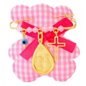 Φυλαχτό για κοριτσάκι ασημένιο 925 επίχρυσο. Είναι διακοσμημένη με κωνσταντινάτο σε σχήμα δάκρυ, ματάκι, σταυρουδάκι και όμορφες ροζ πέτρες.