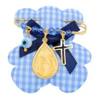 Φυλαχτό για αγοράκι ασημένιο 925 επίχρυσο. Είναι διακοσμημένη με κωνσταντινάτο σε σχήμα δάκρυ, ματάκι, σταυρουδάκι και όμορφες γαλάζιες πέτρες.