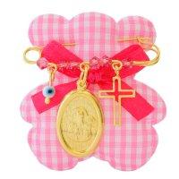 Φυλαχτό με παραμάνα ασημένιο 925 επίχρυσο για κοριτσάκι. Είναι διακοσμημένη με κρεμαστό σε οβάλ σχήμα με την Παναγία, ματάκι, σταυρουδάκι και όμορφες ροζ πέτρες.