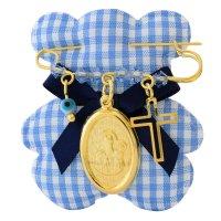 Παραμάνα με φυλαχτό ασημένιο 925 επίχρυσο για αγοράκι. Είναι διακοσμημένη με κρεμαστό σε οβάλ σχήμα με την Παναγία, ματάκι, σταυρουδάκι και όμορφες γαλάζιες πέτρες.