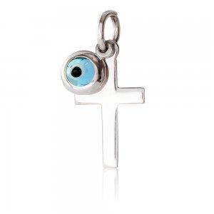 Σταυρός με ματάκι λευκόχρυσο 14Κ. Ο μικρός σταυρός έχει λουστρέ φινίρισμα και το ματάκι είναι μπλε στρογγυλό. Συνδυάστε το με αλυσίδα ή παραμάνα για νεογέννητο.