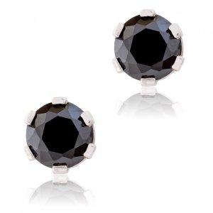 Σκουλαρίκια ασημένια με πέτρες ζιργκόν, επιπλατινωμένα. Έχουν διακριτικό μονόπετρο σχέδιο με διάμετρο 5mm και είναι διακοσμημένα με μαύρες πέτρες ζιργκόν.