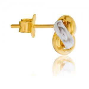 Γυναικεία σκουλαρίκια κόμποι από χρυσό και λευκόχρυσο 14Κ σε λεία λουστρέ επεξεργασία. Απλότητα και μοντέρνος σχεδιασμός!