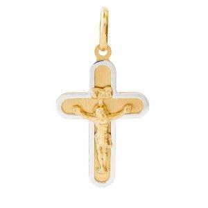 Οικονομικός χρυσός σταυρός 14Κ δίχρωμος για άνδρα, διακοσμημένος με ανάγλυφο Εσταυρωμένο. Μπορεί να φορεθεί και ως βαπτιστικός, αν συνδυαστεί με τις προτεινόμενες αλυσίδες.