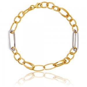 Χρυσό βραχιόλι αλυσίδα δίχρωμο 14Κ σε μοντέρνο σχέδιο. Αποτελείται από χρυσούς και λευκόχρυσους κρίκους σε αραιή πλέξη με λουστρέ και σφυρήλατη επεξεργασία.