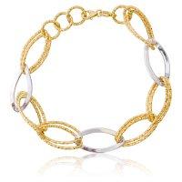 Βραχιόλι αλυσίδα από δίχρωμο χρυσό 14Κ σε μοντέρνο σχέδιο. Αποτελείται από χρυσούς και λευκόχρυσους κρίκους σε αραιή πλέξη με λουστρέ και σφυρήλατη επεξεργασία.