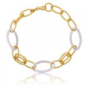 Βραχιόλι χρυσό αλυσίδα δίχρωμο 14Κ, σε μοντέρνο σχέδιο. Αποτελείται από χρυσούς και λευκόχρυσους κρίκους σε αραιή πλέξη με λουστρέ και σφυρήλατη επεξεργασία.