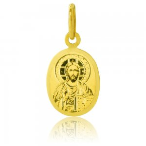 Χρυσό φυλαχτό για νεογέννητο 14Κ, σε οβάλ σχήμα, διακοσμημένο με χαραγμένη αποτύπωση του Ιησού. Ιδανικό δώρο για νεογέννητο αγοράκι.