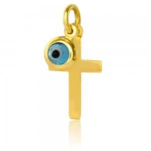 Χρυσό ματάκι και σταυρός 14Κ. Ο μικρός σταυρός έχει λουστρέ φινίρισμα και το ματάκι είναι μπλε στρογγυλό. Συνδυάστε το με αλυσίδα ή παραμάνα για νεογέννητο.