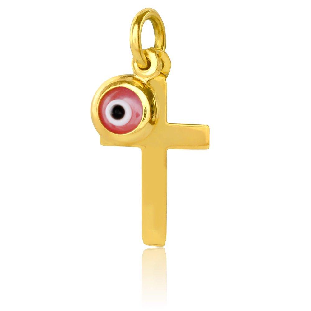 Ροζ ματάκι και σταυρός από χρυσό 14Κ. Ο σταυρός έχει λουστρέ φινίρισμα και το ματάκι είναι στρογγυλό. Συνδυάστε το με αλυσίδα ή παραμάνα για νεογέννητο.