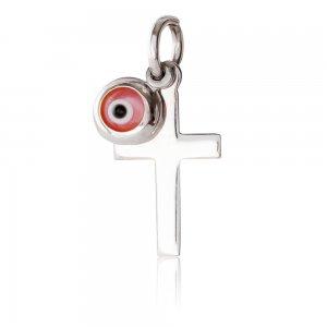 Φυλαχτό σταυρός με ματάκι λευκόχρυσο 14Κ. Ο σταυρός έχει λουστρέ φινίρισμα και το ματάκι είναι στρογγυλό σε ροζ χρώμα. Συνδυάστε το με αλυσίδα ή παραμάνα για νεογέννητο.