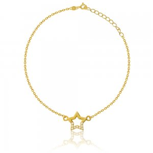 Βραχιόλι αστέρι από ασήμι 925 επίχρυσο, σε διάτρητο σχέδιο, διακοσμημένο με λευκές πέτρες ζιρκόν.