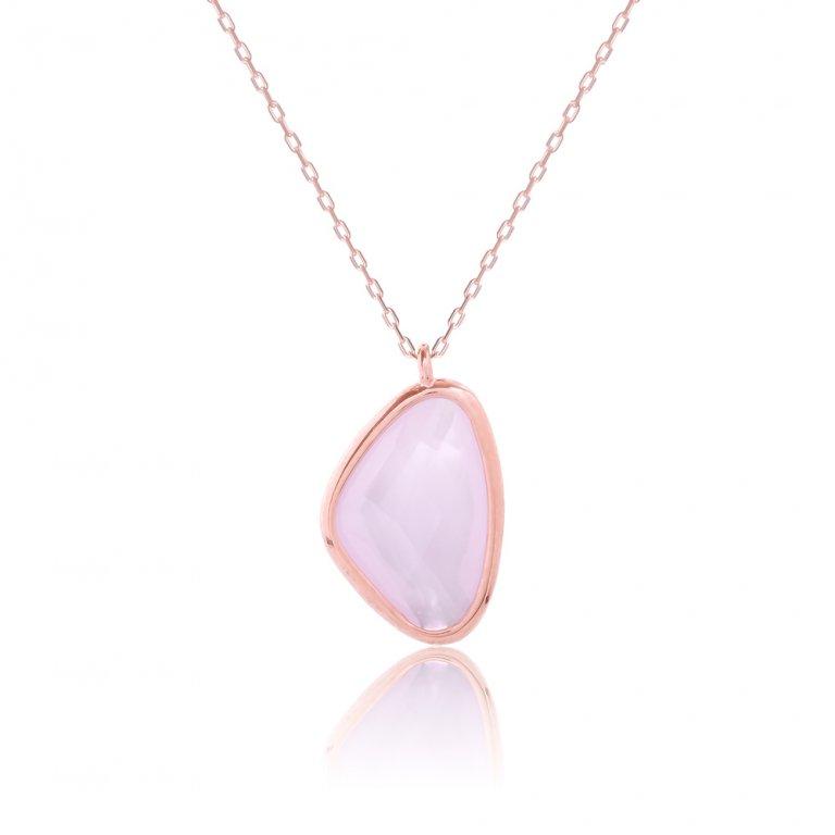 Κολιέ με ροζ πέτρα ασημένιο 925, σε ροζ επιχρύσωμα