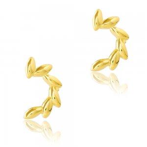 Μοντέρνα σκουλαρίκια ασημένια 925 επιχρυσωμένα. Είναι καρφωτά διακοσμημένα με στεφανάκι ημικυκλικό.