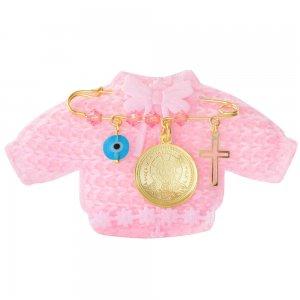 Φυλαχτό παιδικό ασημένιο για κορίτσι, με κωνσταντινάτο διπλής όψης, ματάκι και σταυρουδάκι. Περιλαμβάνει ροζ παιδικό ζακετάκι.