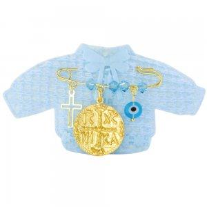Ασημένια παραμάνα για νεογέννητο, με κωνσταντινάτο διπλής όψης, ματάκι και σταυρουδάκι.