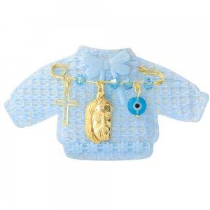 Φυλαχτό ασημένιο με τον Χριστό σε παραμάνα για νεογέννητο, με ματάκι και σταυρουδάκι. Περιλαμβάνεται γαλάζιο παιδικό ζακετάκι.
