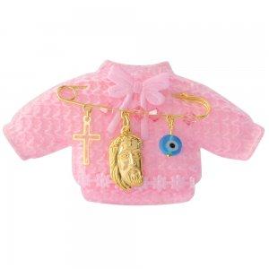 Φυλαχτό με τον Χριστό ασημένιο σε παραμάνα για νεογέννητο, με ματάκι και σταυρουδάκι. Περιλαμβάνεται ροζ παιδικό ζακετάκι.
