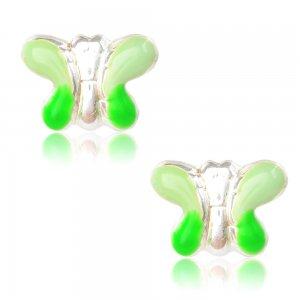 Ασημένια παιδικά σκουλαρίκια πεταλούδα, επιπλατινωμένα, σε καρφωτό σχέδιο. Είναι διακοσμημένα με σμάλτο σε πράσινες αποχρώσεις.