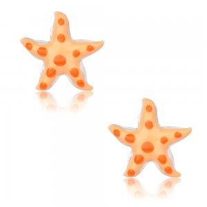 Παιδικά σκουλαρίκια με σμάλτο ασημένια 925, καρφωτά, σε σχέδιο αστερία. Είναι διακοσμημένα με σμάλτο σε πορτοκαλί αποχρώσεις.