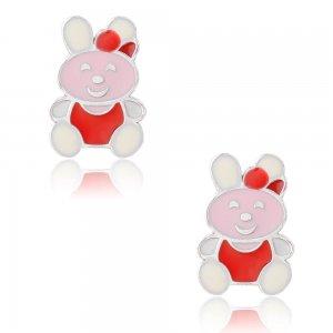 Σκουλαρίκια για το παιδί ασημένια, επιπλατινωμένα, σε καρφωτό σχέδιο κουνελάκι. Είναι διακοσμημένα με σμάλτο σε διάφορα χρώματα.