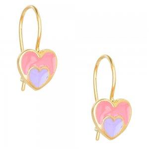 Κρεμαστά σκουλαρίκια καρδιές από ασήμι 925, επίχρυσα. Είναι διακοσμημένα με σμάλτο σε ροζ και μοβ χρώμα.